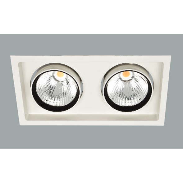 A white double led downlight with a grey background.