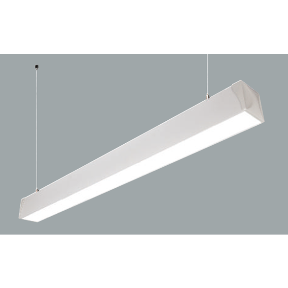 A white suspended linear led on a grey background.