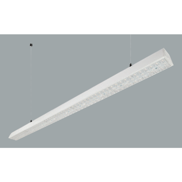 A white linear led on a grey background.