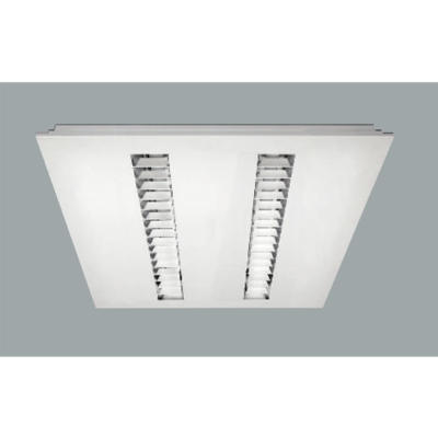 An steel recessed ceiling light with grey background.