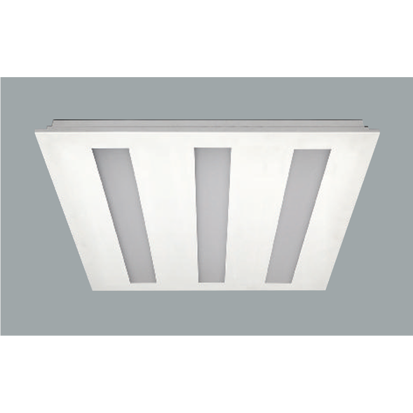 Recessed ceiling light x3 on a grey background - 595mm