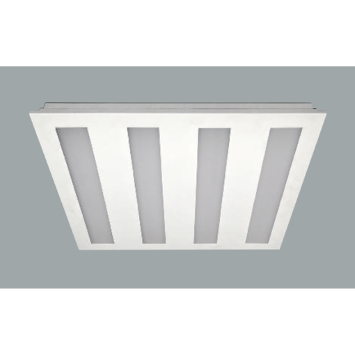 A white 4 recessed ceiling lights with grey background.