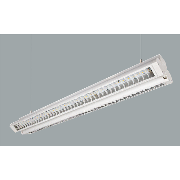 A white low glare linear led on a grey background.