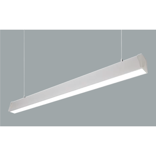 A white narrow suspended linear led on a grey background.