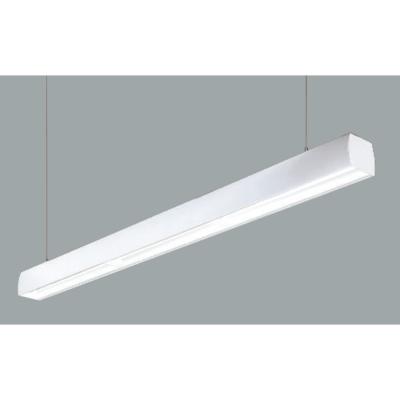 An aluminium asymmetric linear led on a grey background.