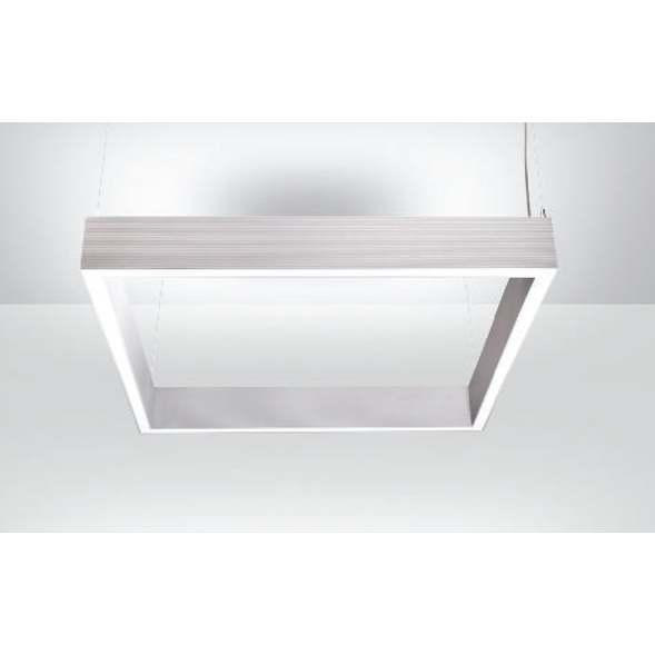 An aluminium square linear led on a white ceiling.