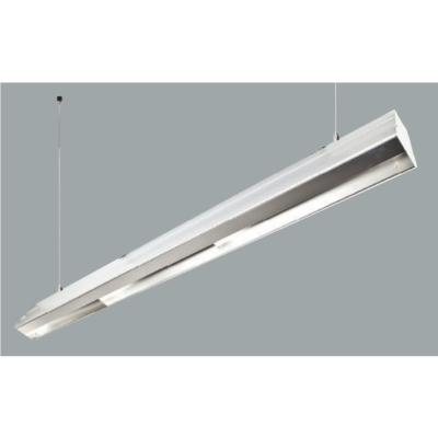 An aluminium batwing linear led on a grey background.