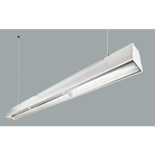 An aluminium double asymetric linear LED on a grey background.