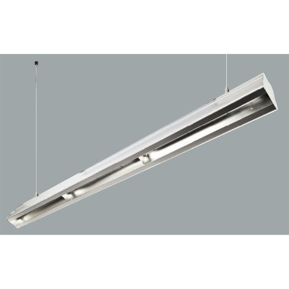 An aluminium bay-low linear led on a grey background.