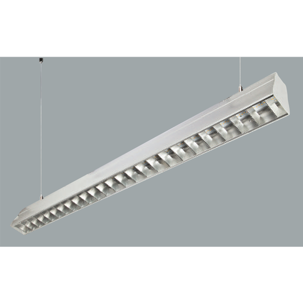 An aluminium linear led on grey background.