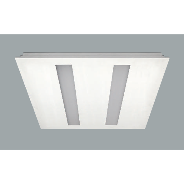 A double white recessed ceiling light with grey background.