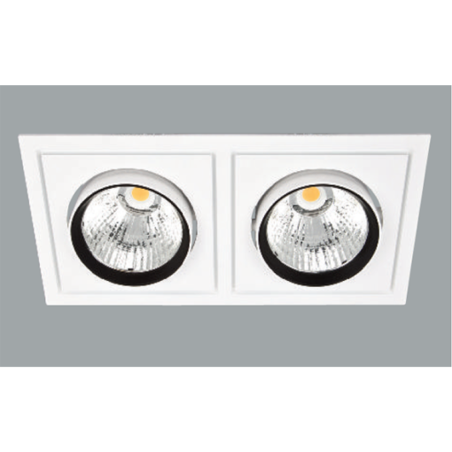 A white and black double led downlight with grey background.