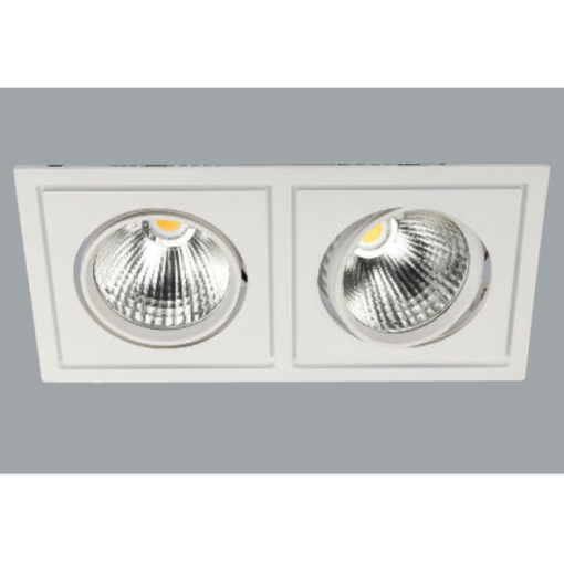 A white double fix led downlight with grey background.