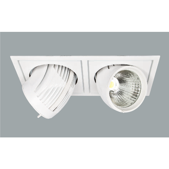 A white double flexible led downlights with grey background.