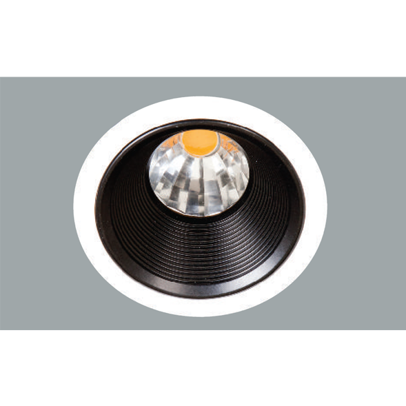 A white and black led downlight with a grey background.