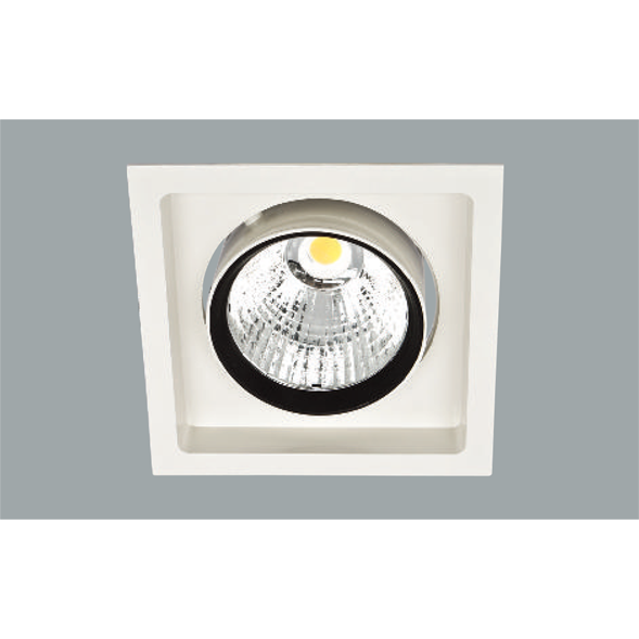 A white and black single led downlight with a grey background.