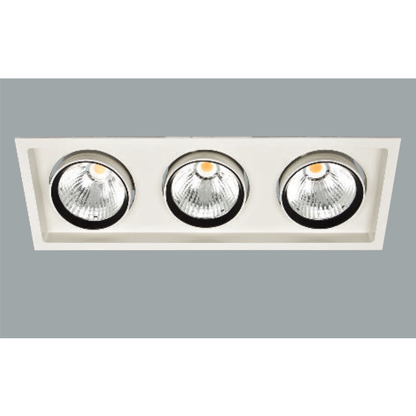 A white and black triple led downlight with a grey background.