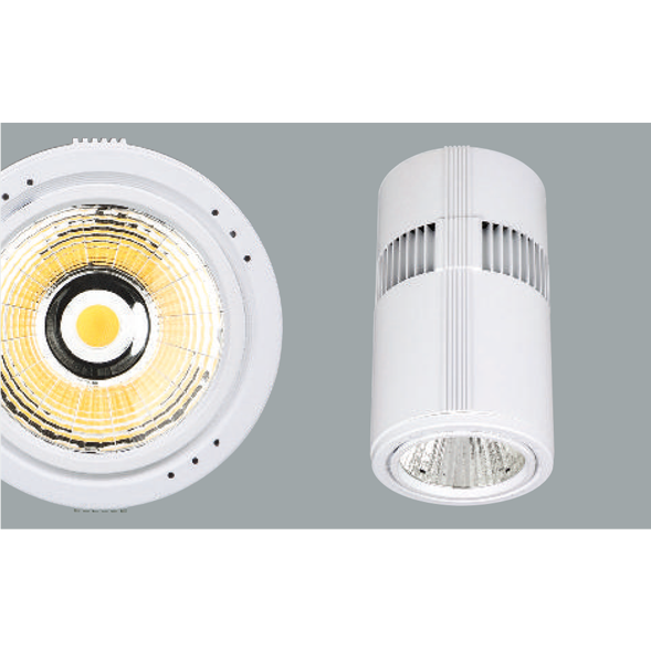 White surface mounted ceiling lights on a grey background.