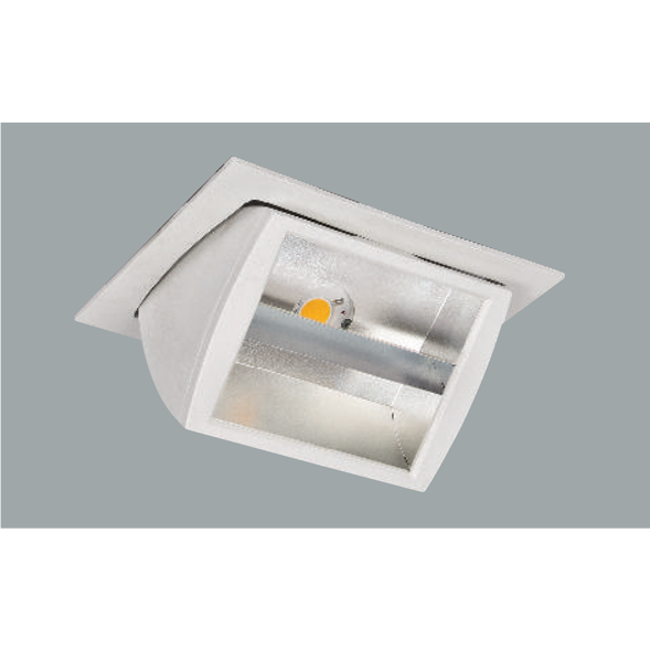 A white double reflector led downlight with grey background.