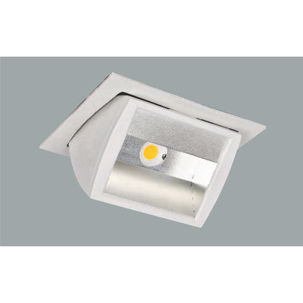 A white half reflector led downlight with grey background.