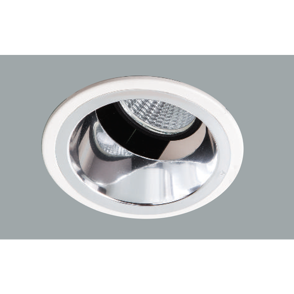 A white indirect led downlight with grey background.