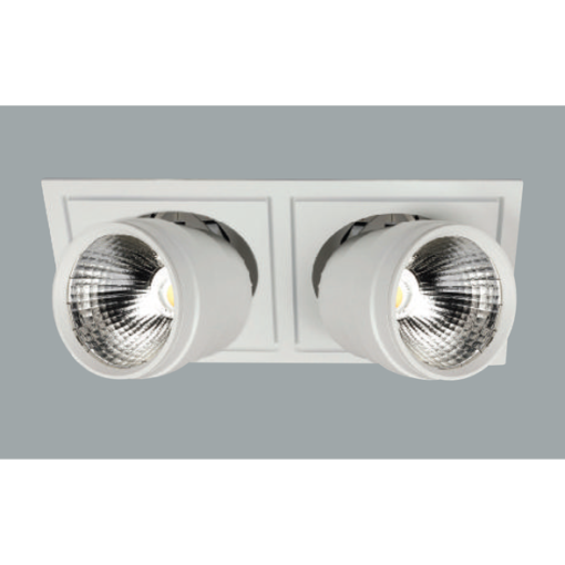 A white double flexible led downlight with grey background.