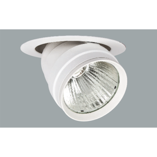 A white flexible round led downlight with grey background.