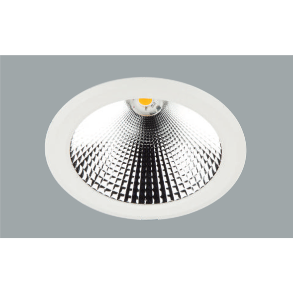 A white aluminium led downlight with a grey background.