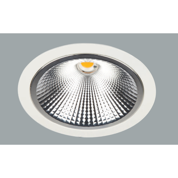 A maxi aluminium led downlights with a grey background.