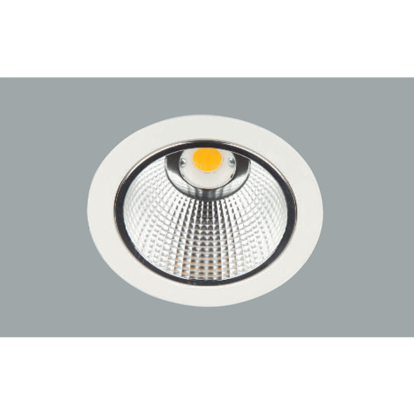 A white mini aluminium led downlight with a grey background.
