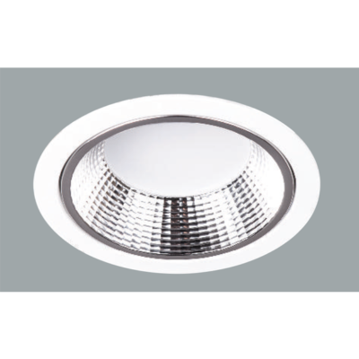 A maxi white led downlight with grey background.