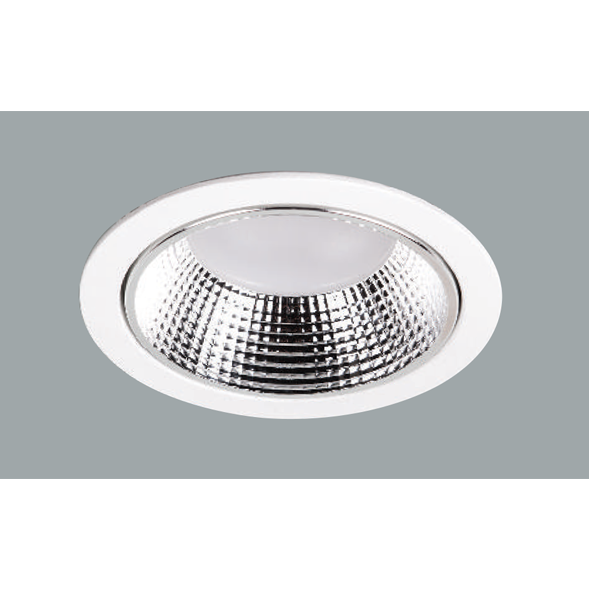 A white midi led downlight with grey background.