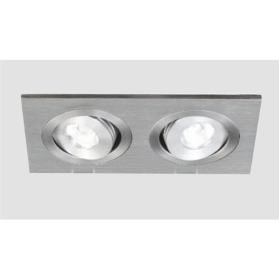 An aluminium double led downlight with grey background.