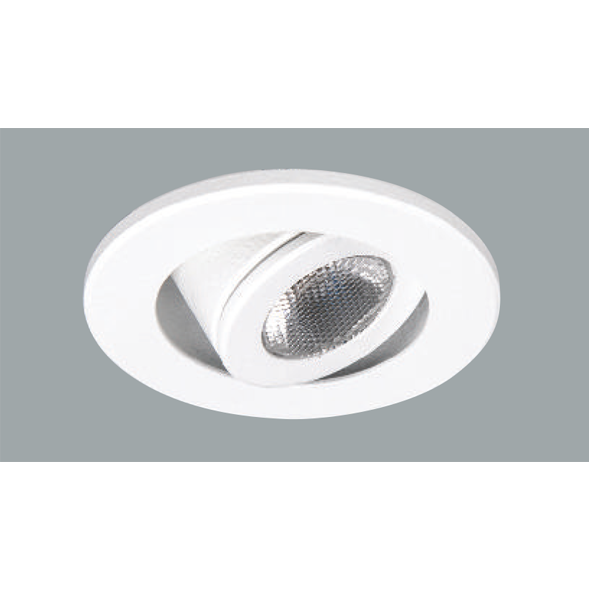 A white rounded led downlight with grey background.