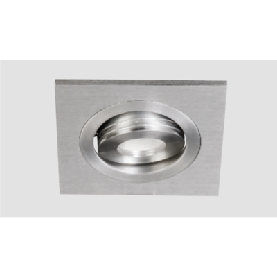 An aluminium led downlight with grey background.
