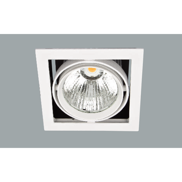 A white square single led downlight with a grey background.