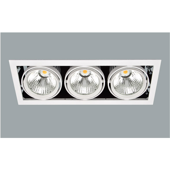 A black and white triple led downlight with a grey background.