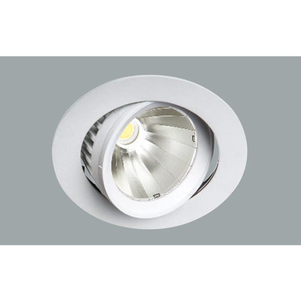 A white mini led downlight with grey background.
