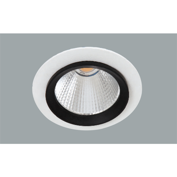 A white and black fix led downlight with grey background.