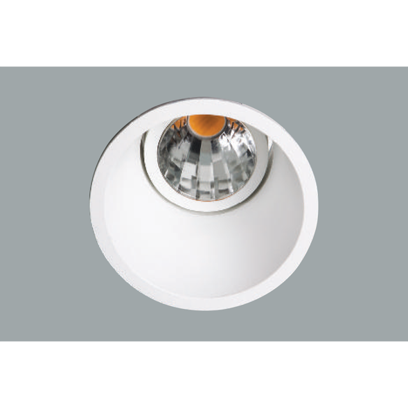 A white deep led downlight with a grey background.