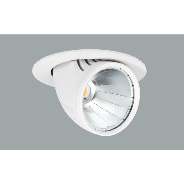 A white mini flexible led downlight with grey background.