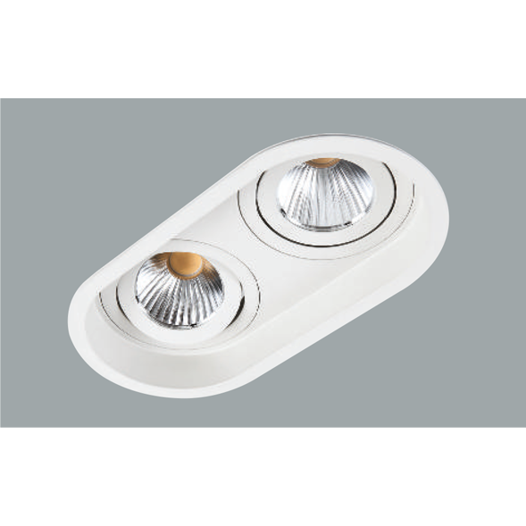 A white double oval led downlight with grey background.
