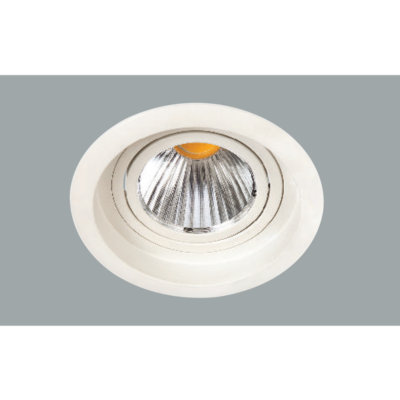 A white single led downlight with grey background.