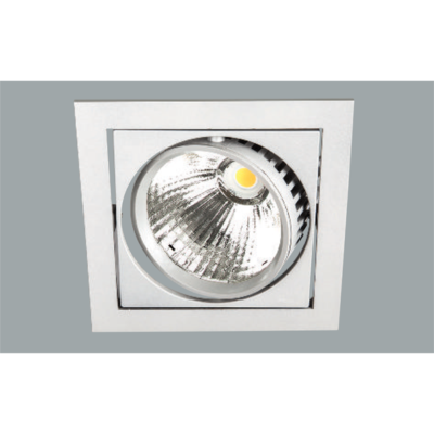 A white led downlight with grey background.