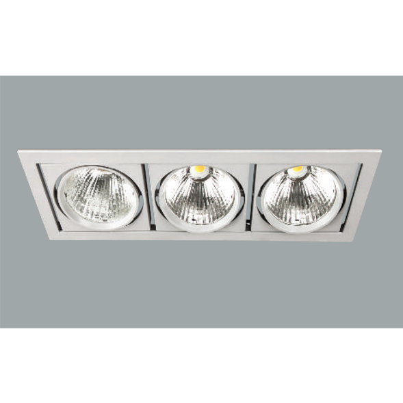A white triple led downlight with grey background.