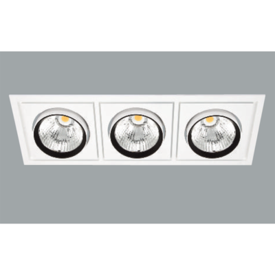 A white triple rectangle led downlight with grey background.