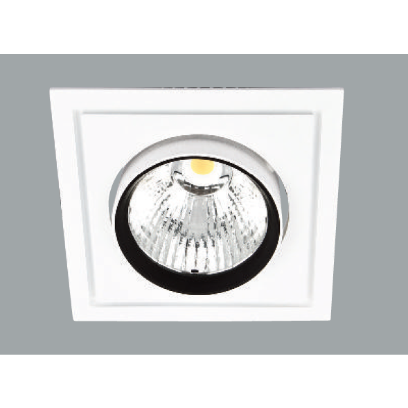 A white rectangular led downlight with grey background.