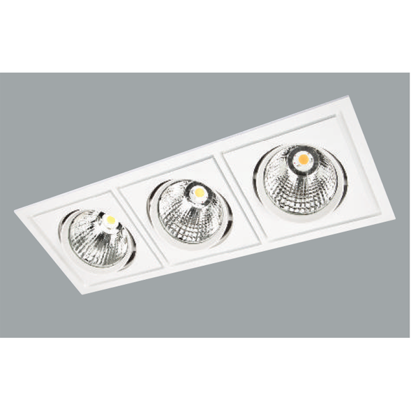 A white triple rectangular led downlight with grey background.