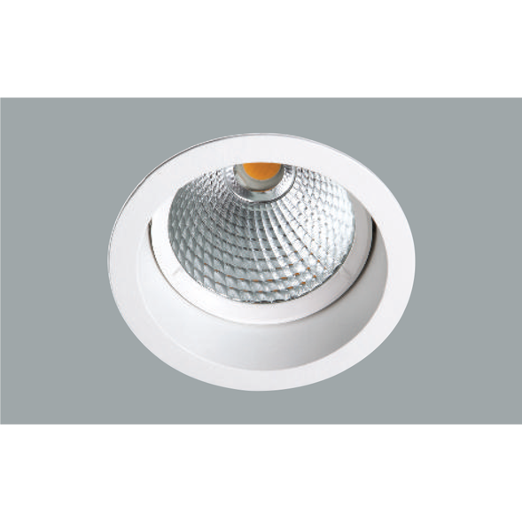 A white led downlight with a grey background.