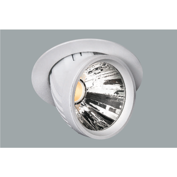 A white and metallic led downlight with grey background.